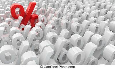 Red percentage symbol over the white percentage symbols