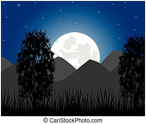Rise of the moon on mountain