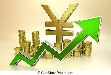 Rise of the yen - 3D finance graph - rise of the yen