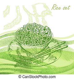 Rise set. Hand drawn plate with rise porridge on watercolor back