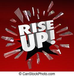 Rise Up Words Break Through Glass Growth Improvement
