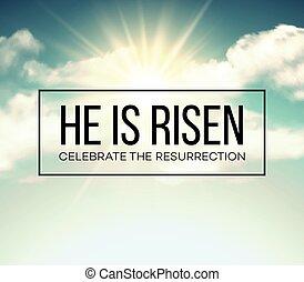 risen., ábra, háttér., vektor, húsvét, ő