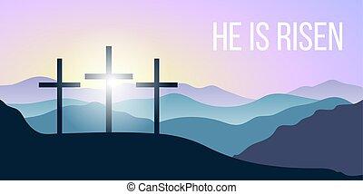 risen., bible, saint, sunrise., citation, silhouettes, ...