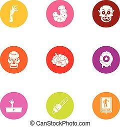 Risen dead icons set, flat style - Risen dead icons set....