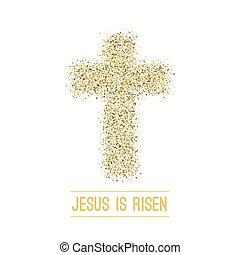 risen., ouro, experiência., vetorial, páscoa, ele