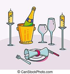 riservato, illustration., ristorante, candele, wineglasses, coltelleria, candeliere, pianta, vettore, cafe., tovaglia, prenotazione, champagne, tavola, o, vino