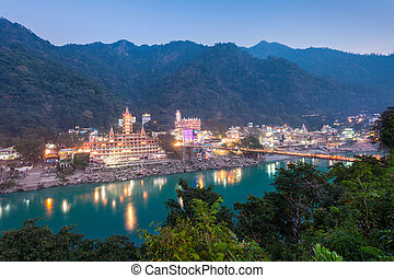 Rishikesh at night, it is a city in nothern India, it is ...