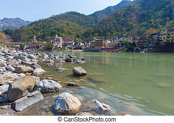 Rishikesh, holy town and travel destination in India, famous...