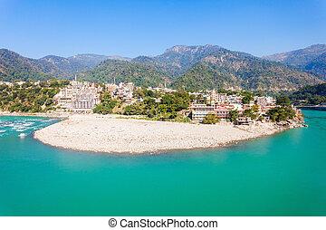 Rishikesh in India - Rishikesh panoramic view, India. It is ...