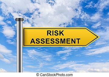 risiko, gelbes zeichen, wörter, einschätzung, straße