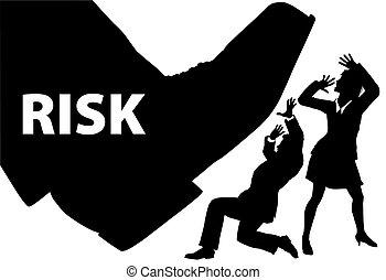 risiko, geschäftsmenschen, fußschritt, uninsured