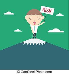 risiko, geschaeftswelt, concept., zeichnung, hintergrund., grün, karikatur