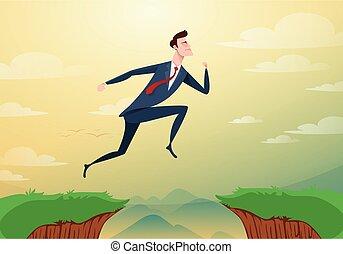 risiko, illustration., geschaeftswelt, aus, hindernisse, erfolg, lücke, springen, rennender , vektor, durch, hügel, zwischen, geschäftsmann, concept., karikatur, cliffs., success.
