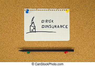 risiko, og, forsikring, tekst, bemærk, meddelelse, fastgøre, på, bulletin boardet
