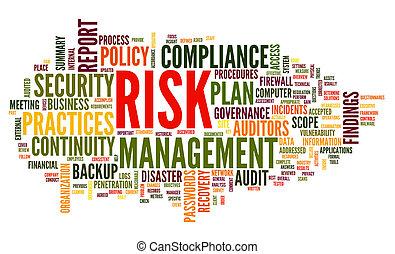 risiko, og, medgørlighed, ind, glose, etiketten, sky