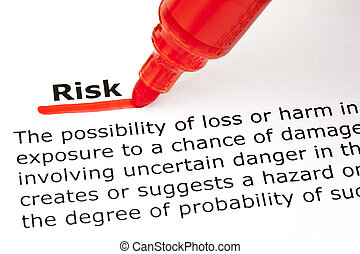 risiko, underlined, hos, rød, marker
