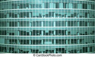 Rising aerial shot of a generic modern office skyscraper
