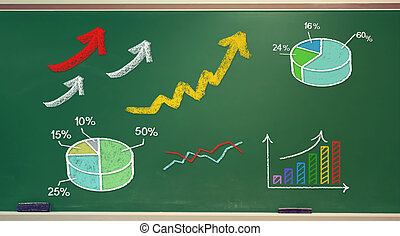 Rising arrows and graphs drawn on chalk board
