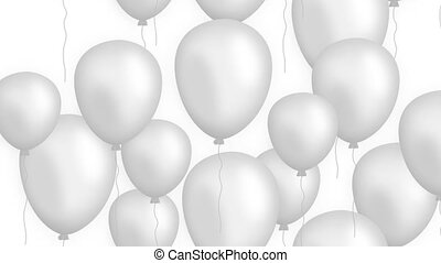 Rising balloons on white background looped