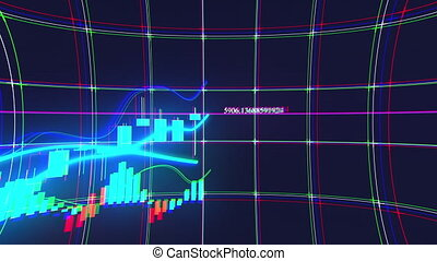 Rising bar graph of stock market investment trading. Computer generated business background. 3d rendering of growing chart