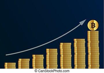rising bitcoin course many golden digital coins