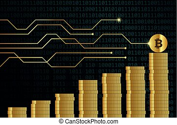 rising bitcoin course many golden digital coins with binary code background