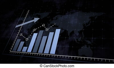 Animation of rising blue bar graph following the arrow on a background of a dotted world map. 3d render.
