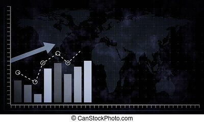 Rising blue bar graph following the arrow on a background of a dotted world map. 3d render.