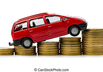 rising car costs. car on coins - rising costs in the car by ...