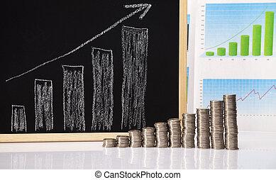 Rising coin chart - Financial success concept, Coins diagram...
