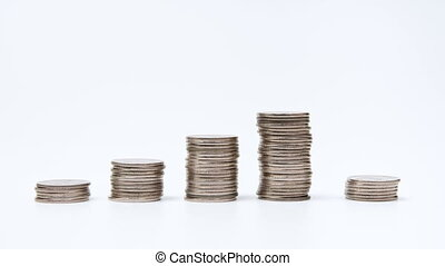 Rising columns of coins. Five stacks of copper coins build...
