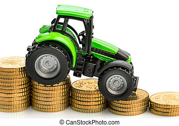 farmers in agriculture have to be an increased cost. higher prices in feed, fertilizer and plants. tractor with coins