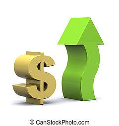 Rising Dollar - A Colourful 3d Rendered Rising Dollar...