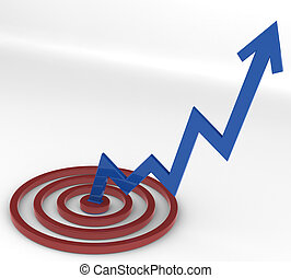 Rising - A Blue Arrow rising up from a red Target