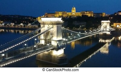 Drone Footage of the Chain Bridge in Night at Budapest