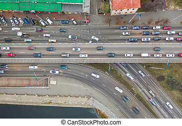 Rising drone shot reveals spectacular elevated highway, bridges, transportation