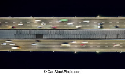 Rising drone shot reveals spectacular elevated highway, ...