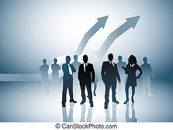 Rising Economy - Vector illustration with a large team and...