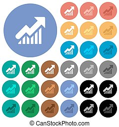 Rising graph round flat multi colored icons