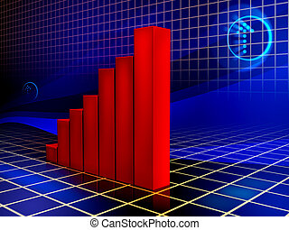 Rising graph - Bar graph shows improving results. Digital...