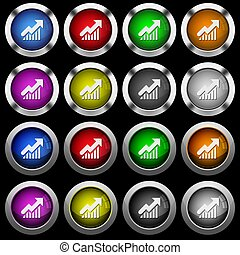 Rising graph white icons in round glossy buttons on black background