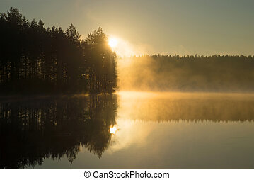 Rising in morning fog on the forest lake. Morning in Finland