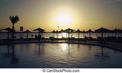 Rising in summer ocean hotel.