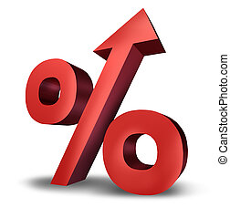 Rising Interest Rates - Rising interst rates symbol with a...