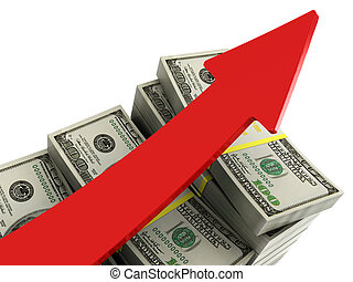 rising money charts - 3d illustration of money rising charts...