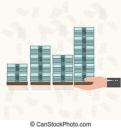 Rising money charts, business success concept