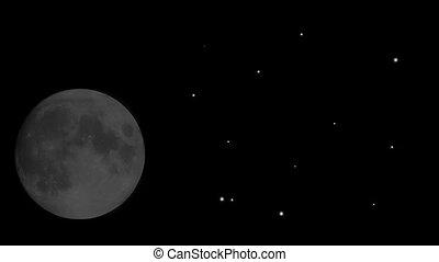 Rising moon and shooting stars