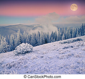 Rising moon over frosty winter mountains. Colorful sunset.