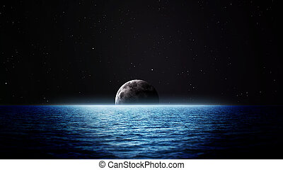 Rising moon over sea. Elements of this image furnished by NASA