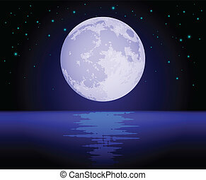 Rising Moon Reflecting Over the Ocean at night